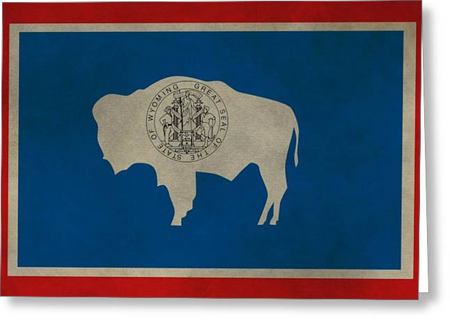 Aged Wyoming State Flag Greeting Card by Dan Sproul