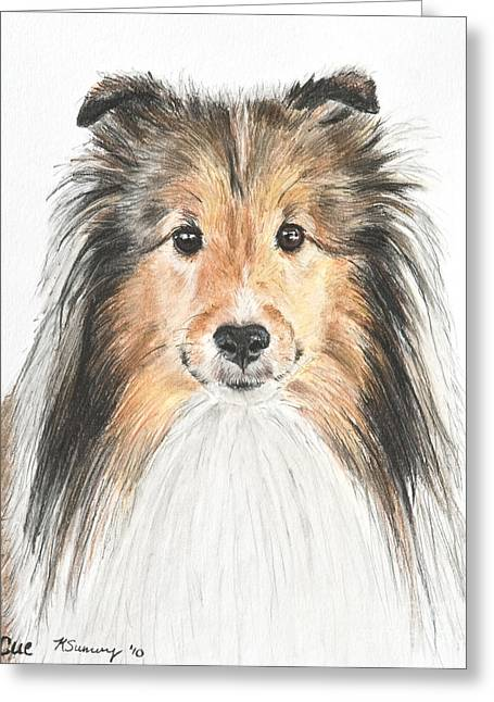 Agility Dog Sheltie In Pastel Greeting Card by Kate Sumners