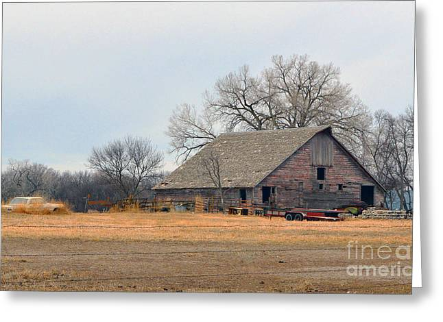 Aging Red Barn Greeting Card