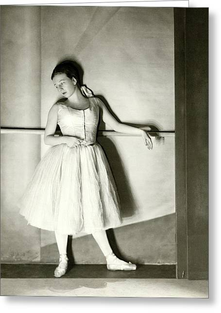 Agnes De Mille Resting Her Arm On A Balance Bar Greeting Card by Nickolas Muray