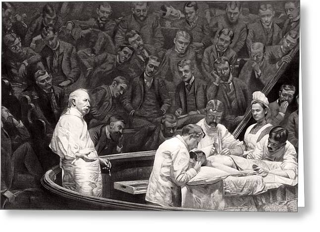 Agnew's Surgical Clinic, 1889 Greeting Card by Science Photo Library