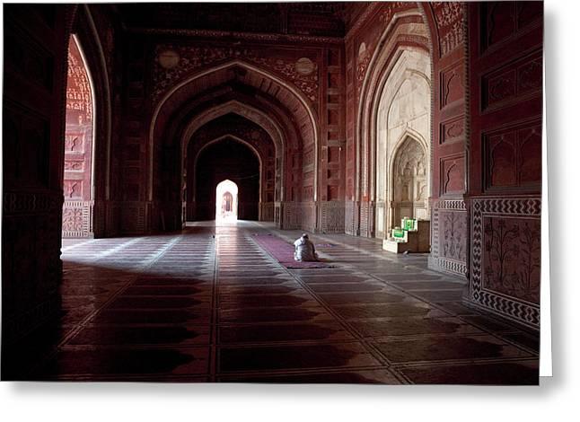 Agra, India Taj Mahal Mosque Imam Greeting Card by Charles O. Cecil