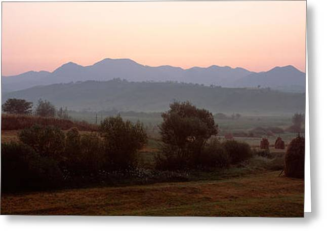 Agricultural Field With A Mountain Greeting Card by Panoramic Images