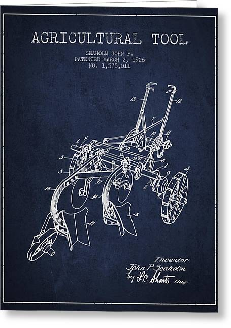 Agricultural Tool Patent From 1926 - Navy Blue Greeting Card by Aged Pixel