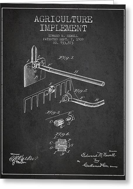Agriculture Implement Patent From 1909 - Dark Greeting Card by Aged Pixel