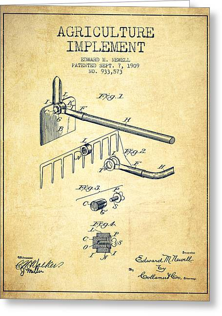 Agriculture Implement Patent From 1909 - Vintage Greeting Card by Aged Pixel