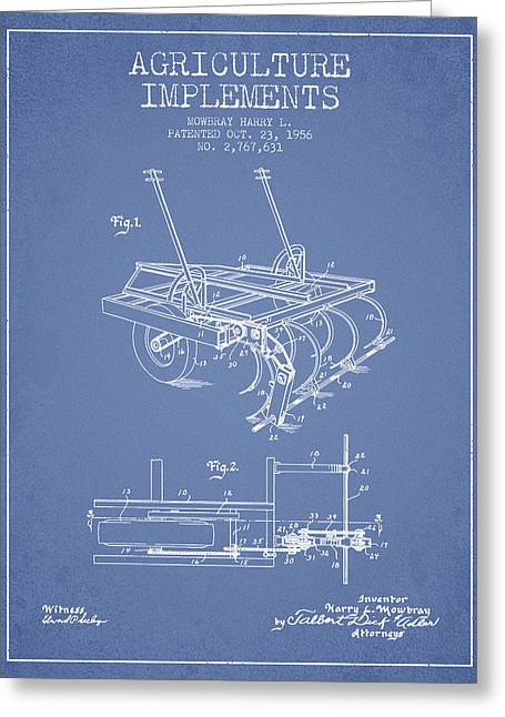 Agriculture Implements Patent From 1956 - Light Blue Greeting Card by Aged Pixel