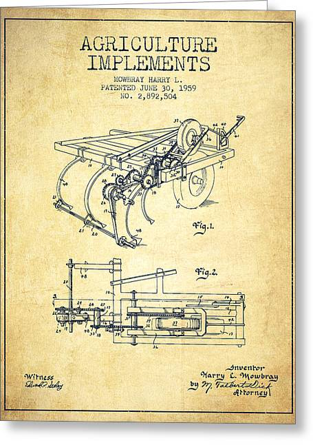 Agriculture Implements Patent From 1959 - Vintage Greeting Card by Aged Pixel