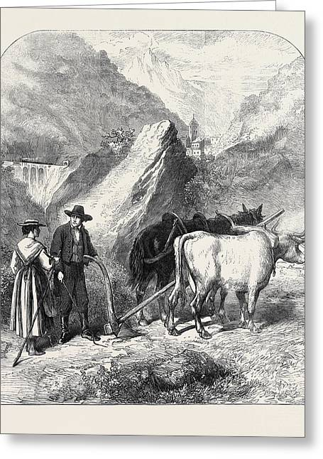 Agriculture In The Dora Valley Mont Cenis Railway 1871 Greeting Card by English School