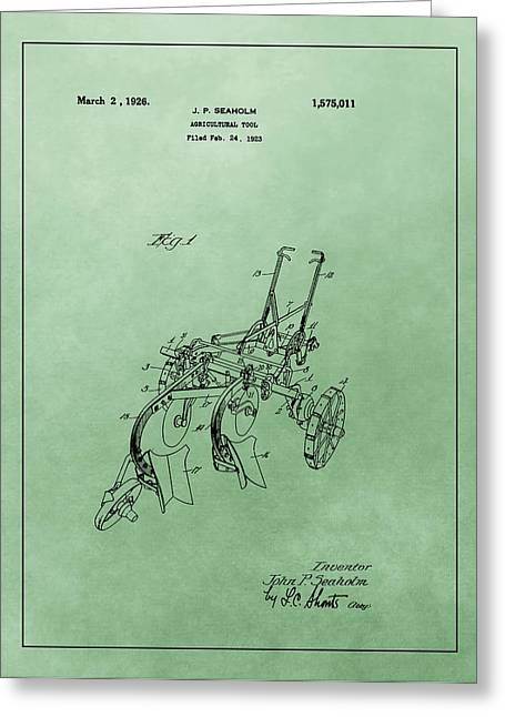 Agriculture Plow Patent Greeting Card by Dan Sproul