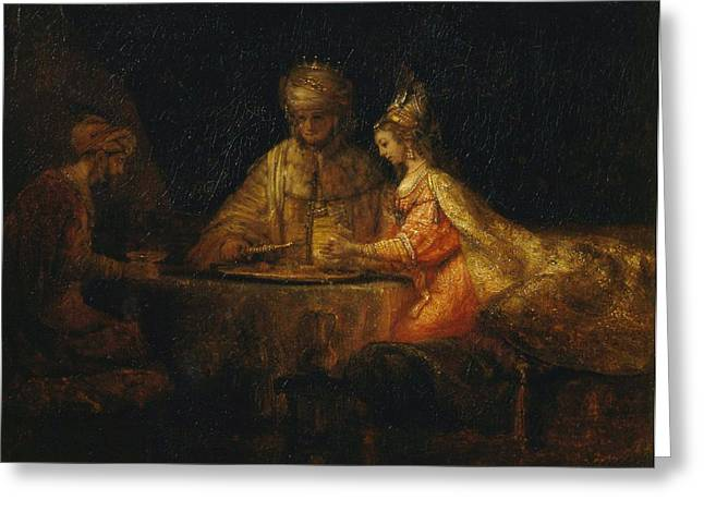 Ahasuerus And Haman At The Feast Of Esther Greeting Card by Rembrandt van Rijn