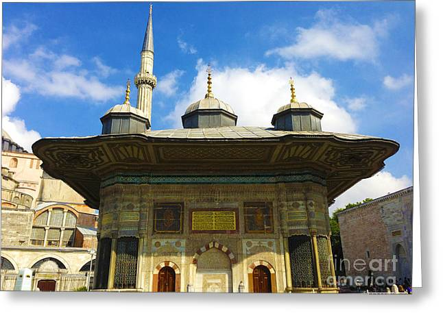 Ahmet II Fountain Next To Topkapi Palace Main Entry With A Minaret Of Hagia Sophia Palace Istanbul  Greeting Card by Ralph A  Ledergerber-Photography