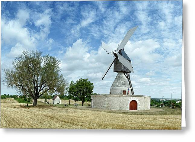 Aigremonts Windmill In A Field Greeting Card by Panoramic Images