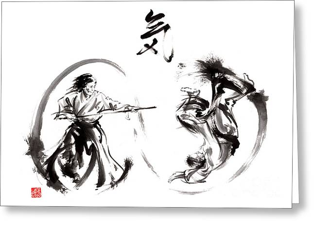 Aikido Federation Show Double Enso Fight Line Circle Painting Greeting Card