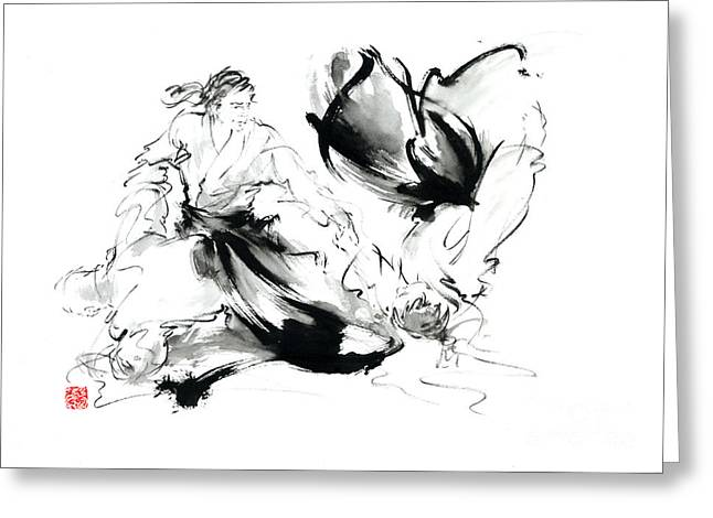 Aikido Randori Techniques Kimono Martial Arts Sumi-e Samurai Ink Painting Artwork Greeting Card by Mariusz Szmerdt