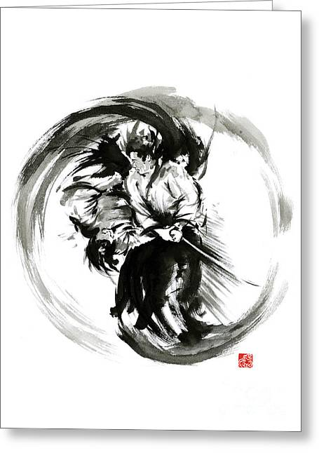 Aikido Techniques Martial Arts Sumi-e Black White Round Circle Design Yin Yang Ink Painting Watercol Greeting Card by Mariusz Szmerdt