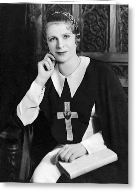 Aimee Semple Mcpherson Greeting Card by Underwood Archives