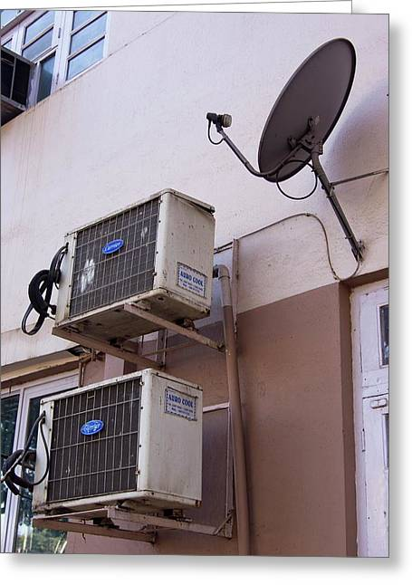 Air-conditioners And Satellite Dish Greeting Card by Mark Williamson