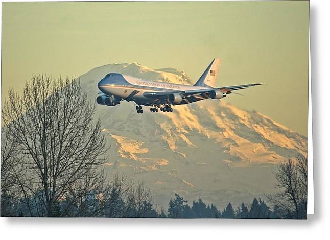 Air Force One And Mt Rainier Greeting Card