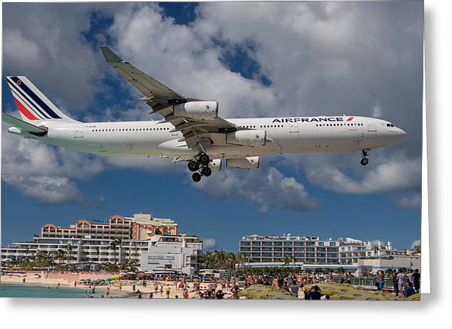 Air France Landing At St. Maarten Greeting Card by David Gleeson