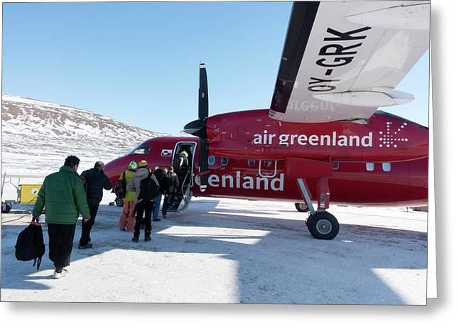 Air Greenland Aeroplane Greeting Card by Louise Murray