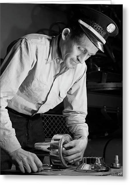 Air Raid Siren Man, 1952 Greeting Card by Stocktrek Images