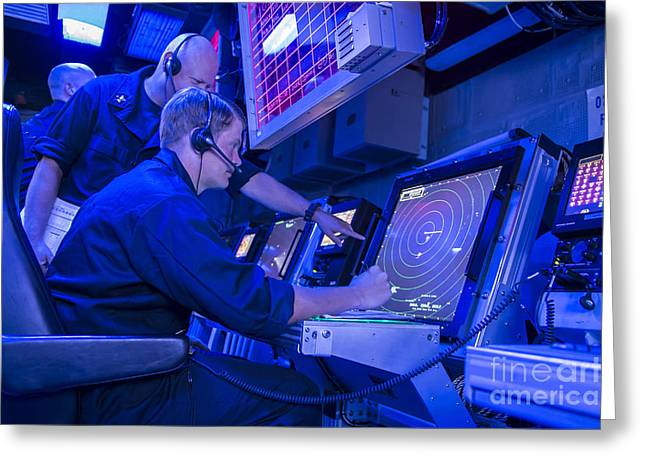 Air Traffic Controllers Monitor An Air Greeting Card by Stocktrek Images