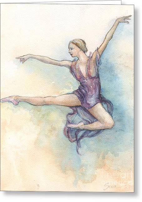 Greeting Card featuring the painting Airborne by Lora Serra