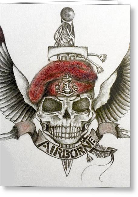 Airborne Skull Greeting Card