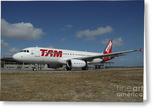 Airbus A320 From Tam Airlines Taken Greeting Card by Riccardo Niccoli