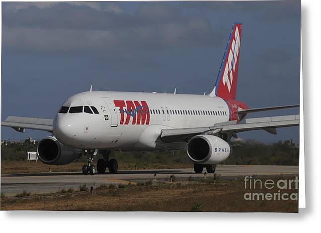 Airbus A320 From Tam Airlinse Taken Greeting Card