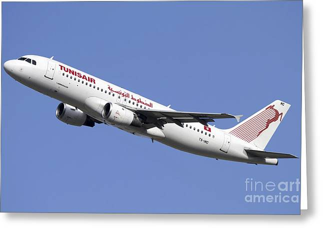 Airbus A320 Of Tunisair Airline Greeting Card