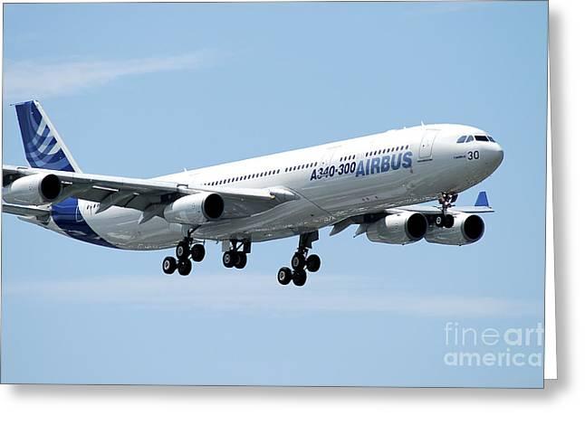 Airbus A340-300 Prepares For Landing Greeting Card by Riccardo Niccoli