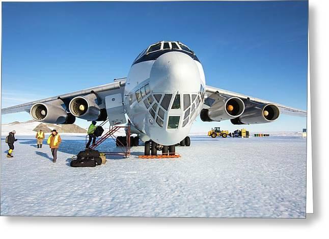 Aircraft At Runway In Antarctica Greeting Card by Peter J. Raymond