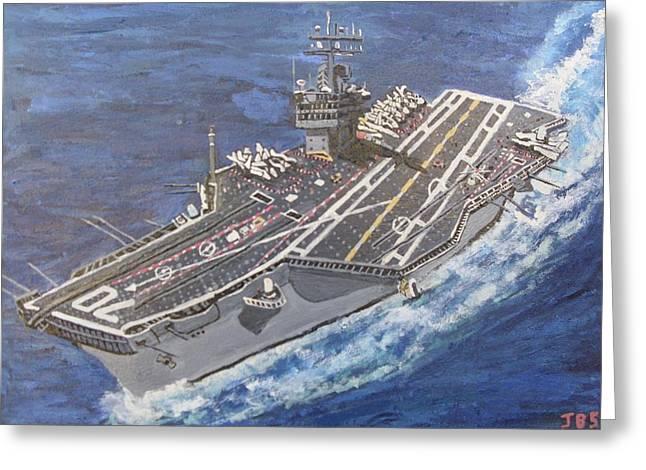 Aircraft Carrier Cvn-70 Carl Vinson Greeting Card by Jose Bernal