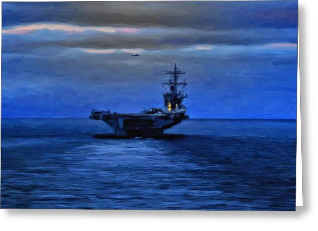 Aircraft Carrier Greeting Card by Michael Pickett