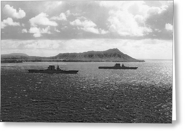 Aircraft Carriers In Hawaii Greeting Card