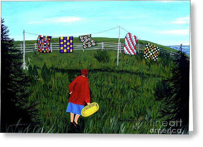 Airing Grandmother's Quilts Greeting Card by Barbara Griffin