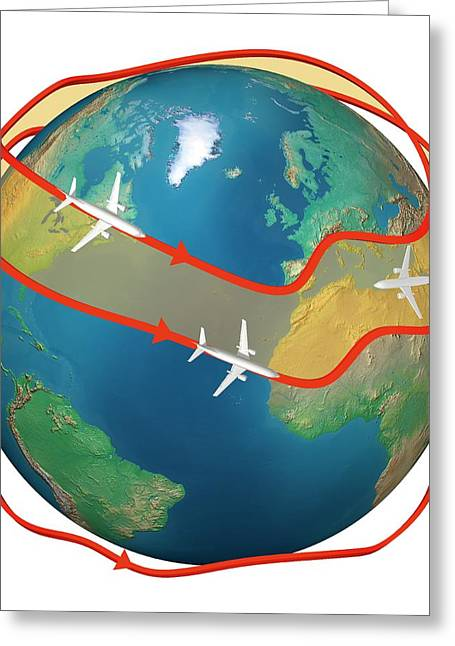 Airliners Following Jet Streams Greeting Card by Claus Lunau