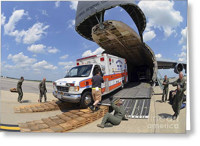 Airmen Load An Ambulance And Two Fire Greeting Card by Stocktrek Images