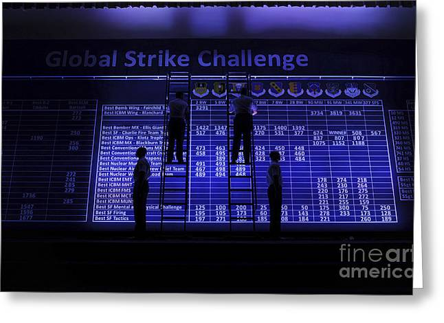 Airmen Post The Scores During Global Greeting Card by Stocktrek Images