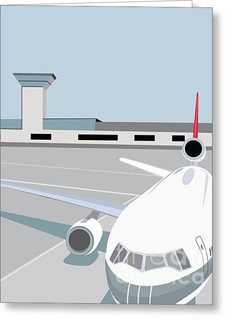 Airplane At Terminal Greeting Card by Jibjibdesigns