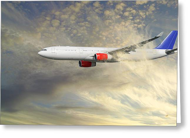 Airplane Flying Into Clouds Close-ups Greeting Card by Christian Lagereek