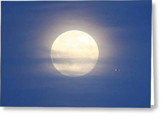 Airplane Flying Into Full Moon Greeting Card