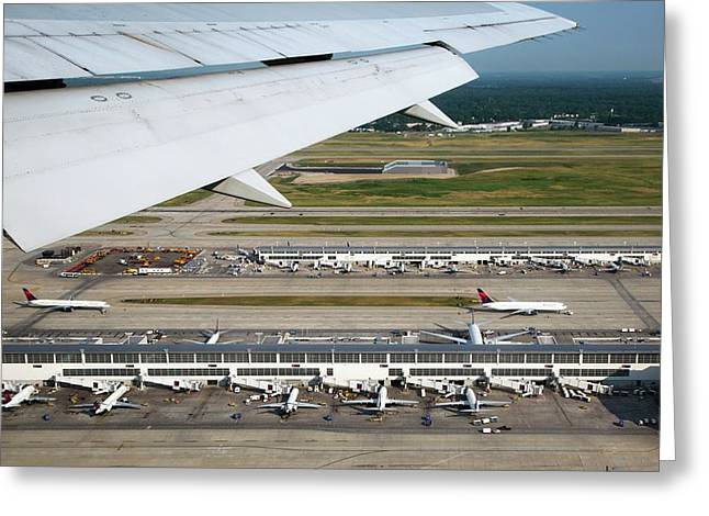 Airplane View Of An Airport Greeting Card by Jim West