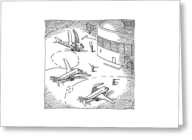 Airplanes On A Runway Match Their Wings Greeting Card by John O'Brien