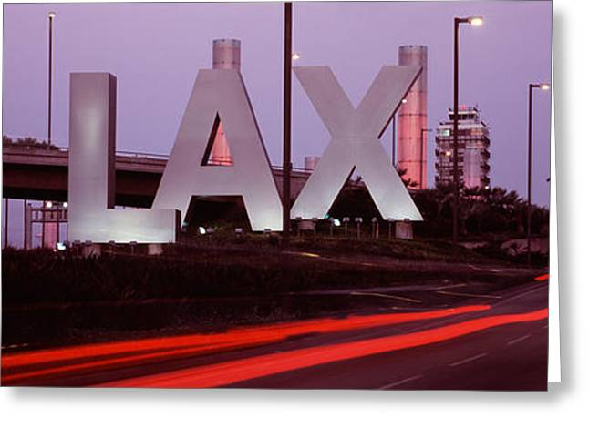 Airport At Dusk, Los Angeles Greeting Card by Panoramic Images