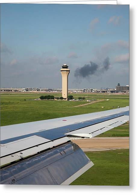 Airport Control Tower And Airplane Wing Greeting Card by Jim West