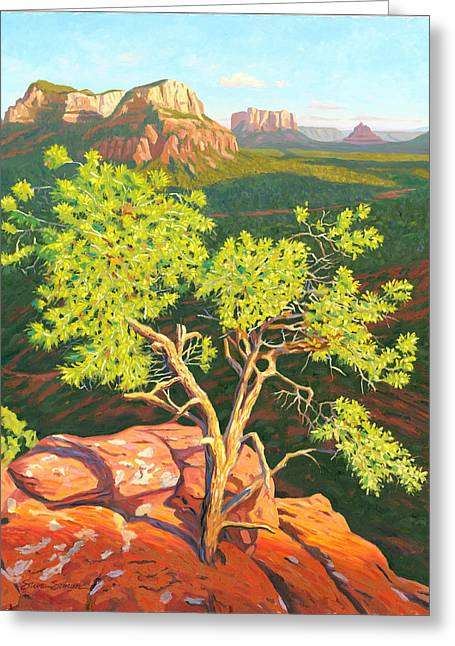 Pinion Paintings Greeting Cards - Airport Mesa Vortex - Sedona Greeting Card by Steve Simon