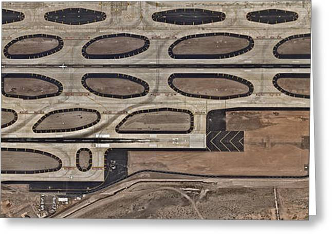 Airport With Runway From Above Greeting Card